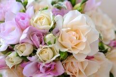 Brides flowers closeup. Brides flowers closeup on a table Royalty Free Stock Photos