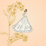 Brides girls  on a floral background Royalty Free Stock Photo