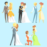 Brides And Grooms Couples. Flat Cool Cartoon Style Vector Drawings Set Royalty Free Stock Image