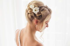 Brides hairstyle for wedding stock photos