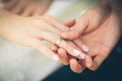 A brides hand with a ring Royalty Free Stock Images