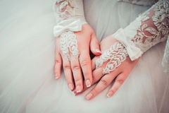 The brides hands stock images