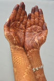 Indian Brides Hands With Henna Stock Image