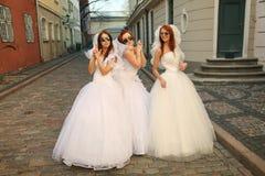 Brides having fun Royalty Free Stock Photo