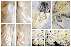 Brides items collage Royalty Free Stock Image