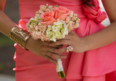 Brides maids with bride holding bouquets Royalty Free Stock Images