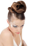 Brides make up. Portrait of beautiful girl bride with coiffure and make up on white stock photos