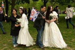 Brides posing at the Royal Wedding, London 2011 Royalty Free Stock Image