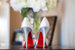 Brides red sole high heels Stock Photos