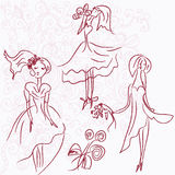 Brides romantic sketches Royalty Free Stock Photo