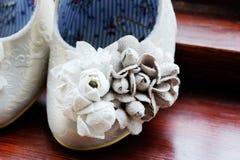 Brides shoe closeup Stock Photography