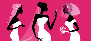 Brides silhouettes. Vector illustration of three brides preparing for wedding ceremony royalty free illustration