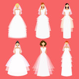 Brides vector set. Flat illustration. Royalty Free Stock Photography