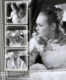 Brides wedding album montage. A montage of a beautiful brides wedding album, seen here in black and white Royalty Free Stock Photo