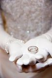 Brides wedding ring. A brides wedding ring on her hand Stock Photos