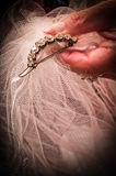 A Brides Wedding Veil. Being held by her mother Royalty Free Stock Image