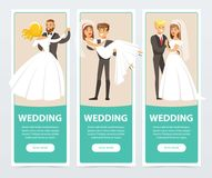 Brides in white wedding dress and grooms in black suit, happy just married couples, wedding banners set flat vector Royalty Free Stock Image