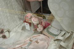 Brides Window. Vintage window display stock illustration