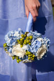 Bridesmaid with Blue Bouquet Stock Photography