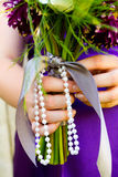 Bridesmaid and Bouquet Royalty Free Stock Photography