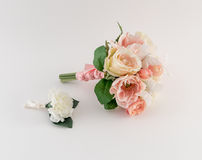 Bridesmaid Bouquet and Groomsman Boutonniere Stock Image