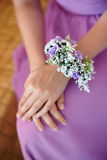 Bridesmaid with boutonniere buttonhole at wedding day Royalty Free Stock Photos