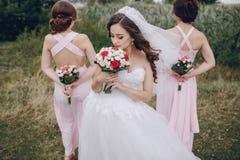 Bridesmaid bride HD Stock Photography