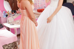 Bridesmaid and Bride Talking Stock Photos