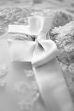 Bridesmaid dress with a large silk bow Royalty Free Stock Images