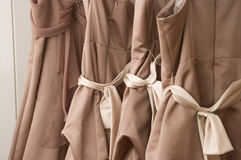 Bridesmaid Dresses. Hanging, sashes tied stock photography