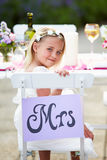 Bridesmaid Enjoying Meal At Wedding Reception Royalty Free Stock Photography