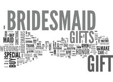 A Bridesmaid Gift For Your Best Friend Word Cloud Royalty Free Stock Photography