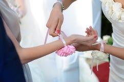 Bridesmaid help Royalty Free Stock Image