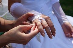 Bridesmaid helps the bride with a wedding ring Stock Photos