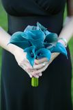 Bridesmaid Holding Blue Bouquet Royalty Free Stock Photo