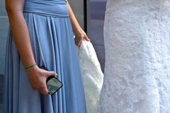 Bridesmaid Holding Cell Phone Royalty Free Stock Photos