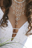 Bridesmaid necklace on the neckline close up Royalty Free Stock Image