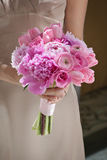 Bridesmaid with Pink Bouquet Royalty Free Stock Images