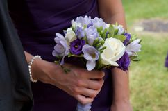 Bridesmaid posy. Of white, lilac, and purple Stock Images