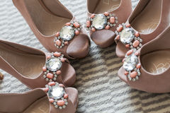 Bridesmaid's shoes. Three of the same pear's of shoes for the special girls Stock Photo