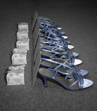 Bridesmaid Shoes. Five pairs of bridesmaid shoes Stock Photo