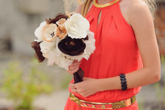 Bridesmaid with Wedding Textile Bouquet Royalty Free Stock Photo
