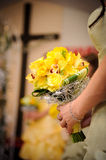 Bridesmaid with yellow roses Royalty Free Stock Photo