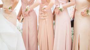 Bridesmaids вывешивают для фотосессии стоковое изображение
