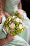 Bridesmaids в зеленом цвете с букетом венчания Стоковое Изображение