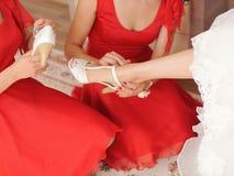 Bridesmaids Assistance Stock Photography