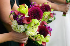 Bridesmaids bouquets. Bridesmaids holding their bouquets Royalty Free Stock Photo