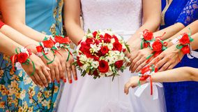 Bridesmaids are drawn to bouquet vector illustration