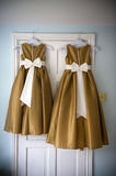Bridesmaids dresses. Two bridesmaids dresses on hangers before a wedding Royalty Free Stock Image