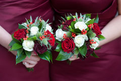 Bridesmaids with flowers Stock Photo